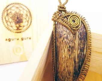 Natural Agarwood Copper Wire Wrap Pendant 5.2g Handmade, Oud, Necklac, Collectable, Spiritual