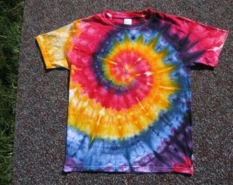 youth shirt, medium, tie dye shirt, rainbow