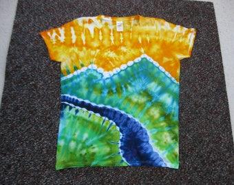 women's tie dye,large, rainbow, art shirt, earth day