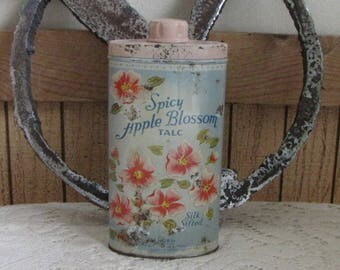 Spicy Apple Blossom Talc Tin Landers Silk Sifted Talc Vintage Tins and Boxes
