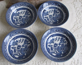 Blue Willow Cereal Bowls Set of Four (4) Made in England Vintage Dinnerware and Replacements