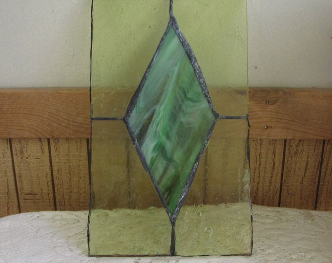 Antique Green Stain Glass Panel Unframed Diamond Shaped Design Industrial Salvage Window Panels Rustic Home Décor