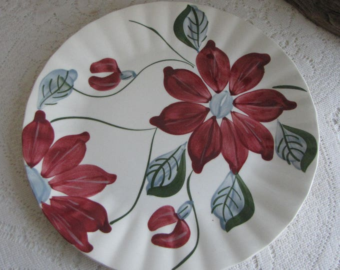 Southern Pottery Blue Ridge Plate Poinsettia Pattern Vintage Farmhouse and Rustic Home Décor P