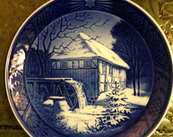 Royal Copenhagen Porcelain Plate - Water Mill - 1976