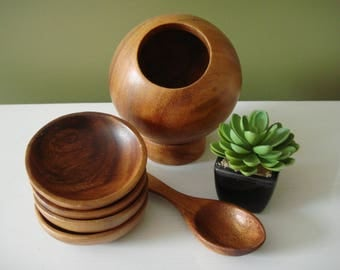 Vintage Salt Cellar  - Wooden Saltern - 6 PC. set w/ Spoon and Dishes - Mid Century Kitchen