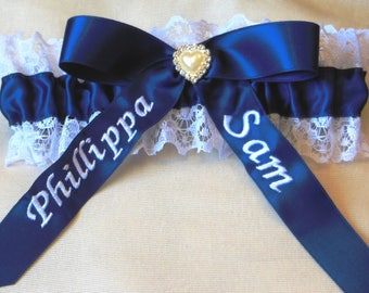Something Blue Wedding Bridal Garter. Personalised with Bride and Grooms Names. Your something Blue.