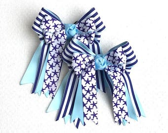 Horse show bows/patriotic equestrian clothing/sparkle gem/gift
