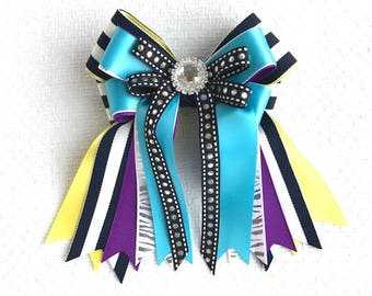 Shorty Bows 4 Horse Shows /Equestrian Gift/Beautiful Sparkle Gem/Ready2Mail with elastic loops