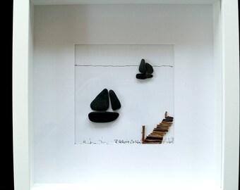 Image Pebble-stone - Pebble art – sailboats and footbridge, framed