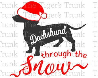 Dachshund Through the Snow cutting file package (SVG, JPG, DXF files)