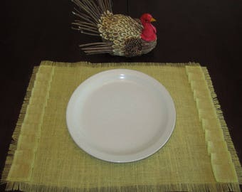 Burlap Placemat - Sultana Burlap - Choice of Light Blue or Butter Yellow