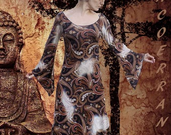 Long dress in viscose, stretch dress Bohemian ethnic dress ' one day my story '