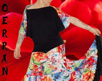 All tank top and long skirt in stretch mesh 'My flowers...'