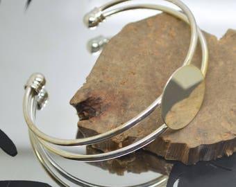 1 cabochon 20 mm adjustable silver metal bracelet holder