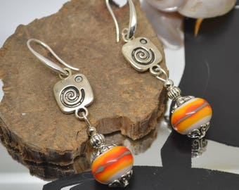 Pearl Earrings glass Lampwork white yellow orange khaki 925 Silver hooks