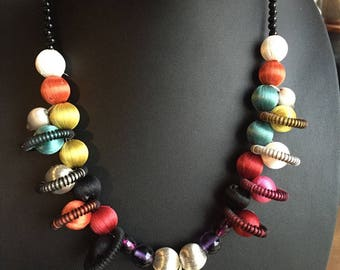 Mini necklace multicolor planet for woman or teen with different bead mix fabric necklace full of color