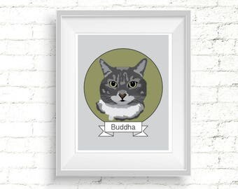 Custom Cat Portrait Printable Personalized Cat Illustration Pet Memorial Sympathy Gift Digital Portrait From Photo Cat Lover Drawing Gift