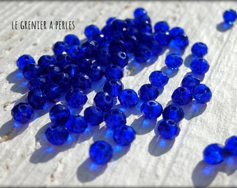 3 mm Cobalt Abacus beads X 50