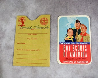1956 Boy Scouts / Cub Scouts Registration Card and Slipcase - Near Mint BSA CSA Membership