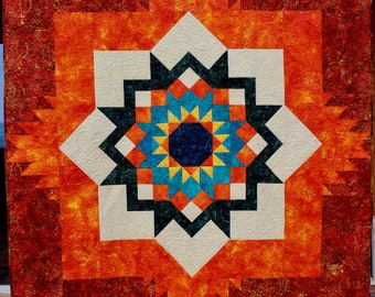 Southwest quilt pattern - Santa Fe Sunburst - throw size: 58 x 76