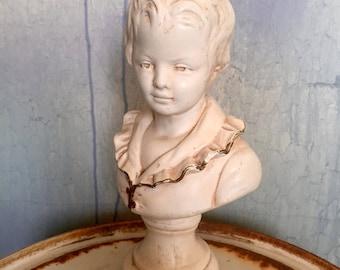 Vintage statue reproduction Houdon antique ivory bust male boy