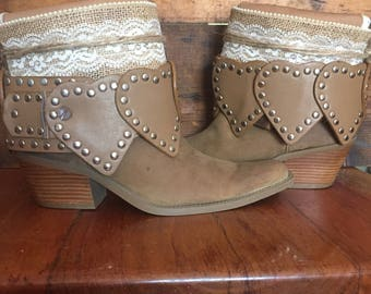 Upcycled western cowboy boots women's size 7