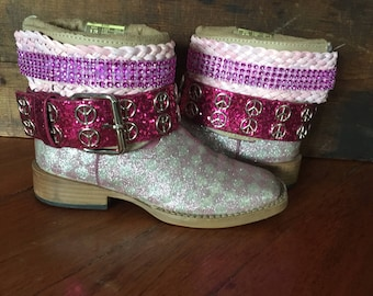Girls pink upcycled western cowboy boots size 13