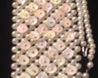 Vintage Faux Pearl Sequin Beaded Necktie Necklace