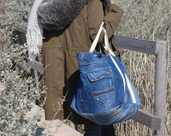Large handle and leather pocket - jean denim - burlap - tote bag