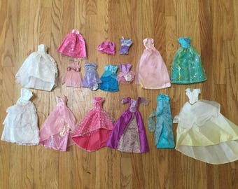 Vintage Barbie doll clothes, multiple clothes, set of clothes dress play clothes toy vintage doll bride dress ball gowns 90s collector item