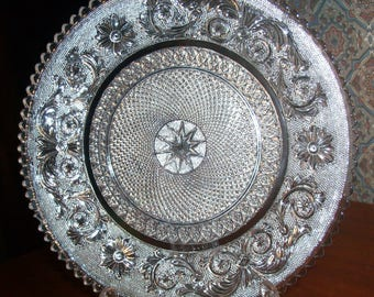 Vintage  Baccarat First Quality Clear Cut Crystal ARABESQUE Dessert Plate -7.75 Inch Diameter - Unused