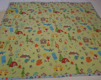 "Whimsical Children's Camping Quilt  36"" x 42"""