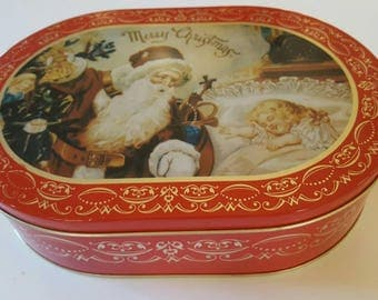 The Tin Box Company - Vintage Oblong Tin - Red with Gold Scroll, Santa, Merry Christmas Themes