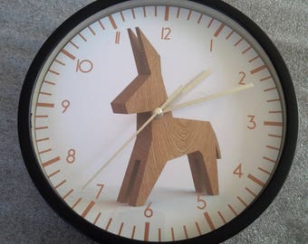 Donkey pattern designer wall clock wood
