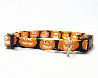 "Halloween Cat Collar  - ""Pumpkin"" -Safety Buckle/Breakaway - Trendy Cat Collar - Soft/Durable - Cotton - Pumpkin Cat Collar"