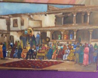 Indian scene oil on paper