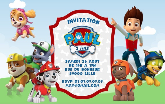 Célèbre Paw Patrol party package multi languages fully customized SK41