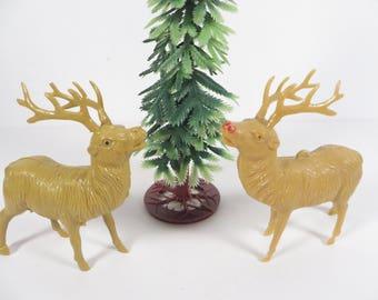 Mid Century Pair of Celluloid Plastic Reindeer