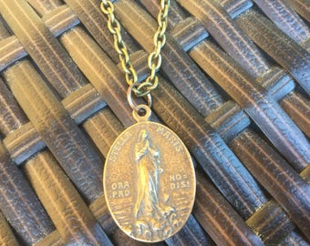 Stella Maris Medal Mary Necklace Ave Maria Vintage replica medal Women's Necklace Men's Necklace Catholic Jewelry