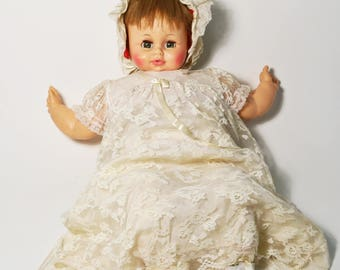 """Vintage 1974 Horsman Life Size Softee Girl Baby Doll in Baptism Gown, Cries 25"""""""