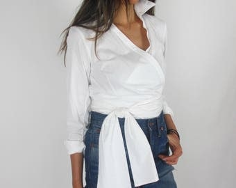 White cotton wrap shirt / S / Talbots tie around waist top three quarter length sleeves minimal fancy collar shirt casual career classic