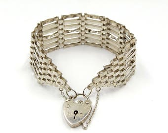 Sterling Silver Gate Bracelet With Heart Padlock   Vintage 7 Bar Victorian Style Gate Bracelet