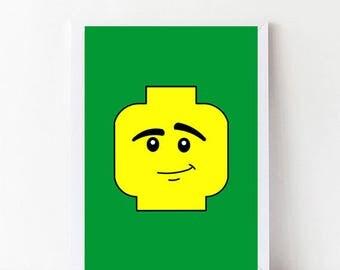 Green Custom Lego Wall Art, Lego Prints 1, Customized Lego Head Printables, Minimal Lego Faces, Lego Nursery Art, digital print illustration