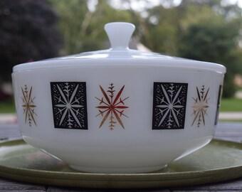 Federal Atomic Starburst Covered Bowl Casserole Dish Snowflake Design 3-1/2 Quarts