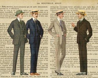 Placemat laminated fashion retro men