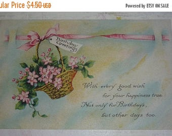 60% off till 8/15 Basket of Pink Flowers Birthday Greetings Antique Pink of Perfection Postcard