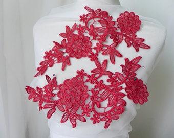 Wine Red Lace Applique, Wine Red Venice Lace Applique, Crochet Lace Applique, In Pairs, On Sale