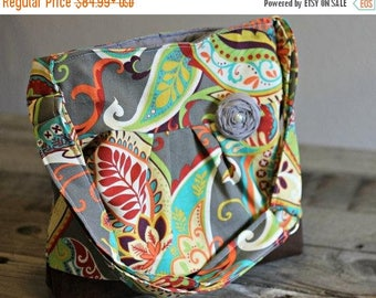 CHRISTMAS SALE Small Messenger Bag, Grey Paisley, Conceal Carry Handbag, Concealed Carry Purse, Conceal and Carry, Messenger Bag