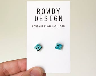 Square Stud Earrings - Blue Swirl with Black Speckle
