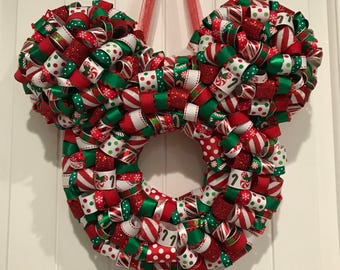 Mickey Shaped Christmas Holiday Ribbon Wreath **FREE SHIPPING**